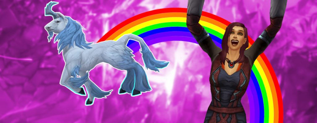 WoW Monohorn Unicorn Rainbow cheer human female title titel 1140x445
