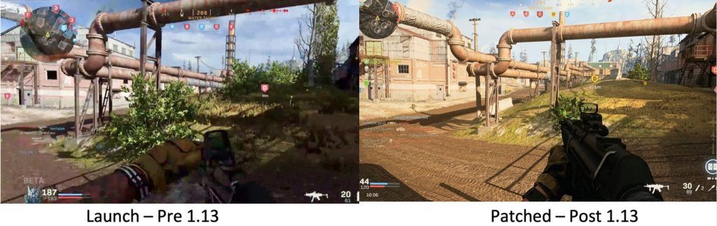 cod modern warfare warzone grafik downgrade beispiel büsche