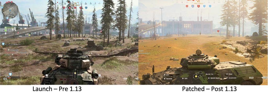 cod modern warfare warzone grafik downgrade beispiel panzer wald