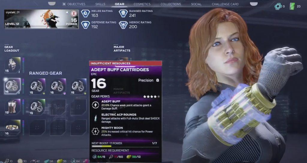 marvel avengers widow loot