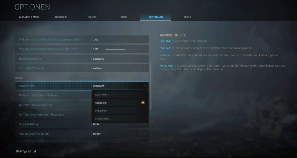 Call fo Duty Modern Warfare Controller Optionen