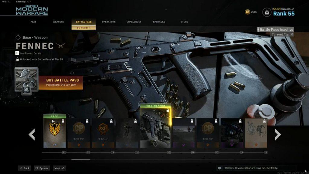 Call fo Duty Modern Warfare Warzone Battle Pass Season 4 Fennec