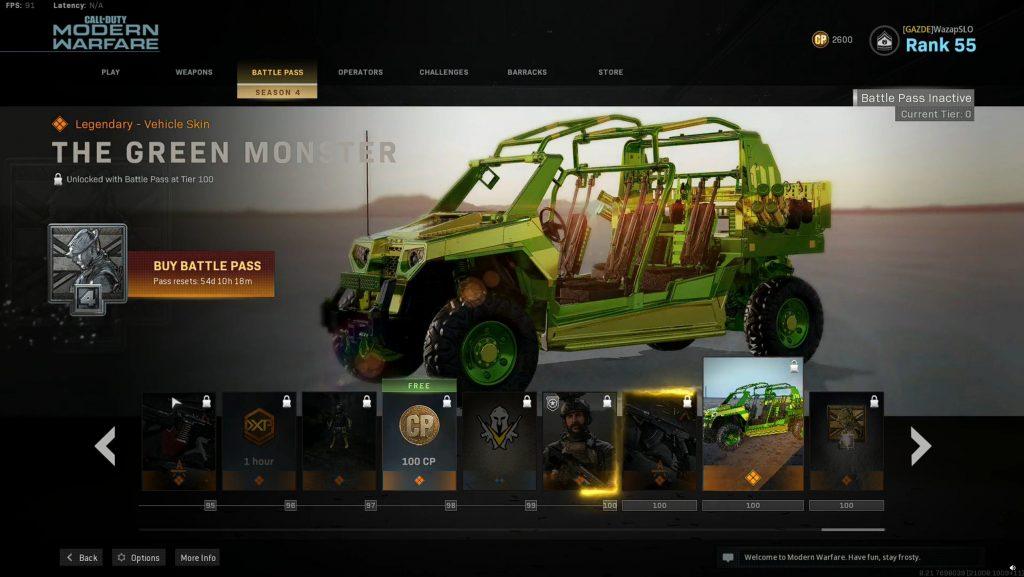 Call fo Duty Modern Warfare Warzone Battle Pass Season 4 Green Monster