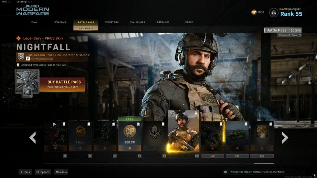 Call fo Duty Modern Warfare Warzone Battle Pass Season 4 Price Nightfall
