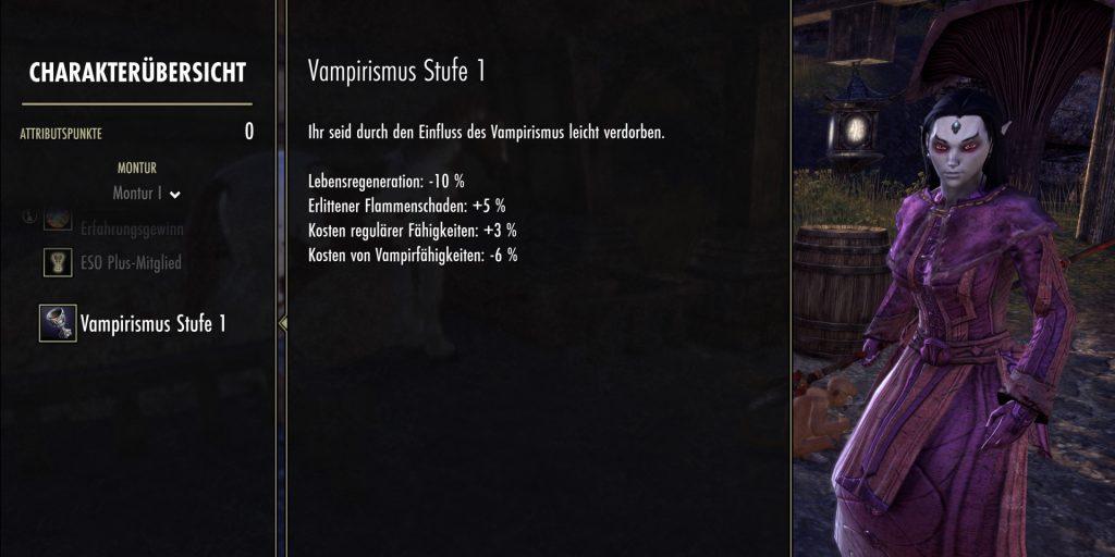 ESO Vampirismus Stufe 1 Dunkelelfe