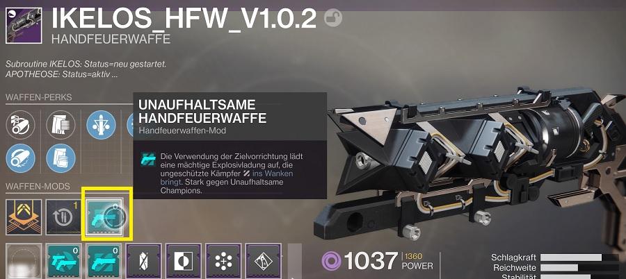 Mod Waffe Artefakt Season 11 Destiny 2