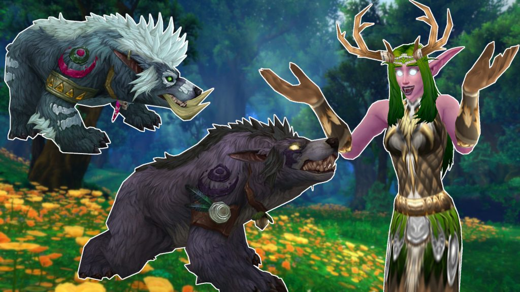 WoW Female Druid Cheer with bears titel title 1920x1080