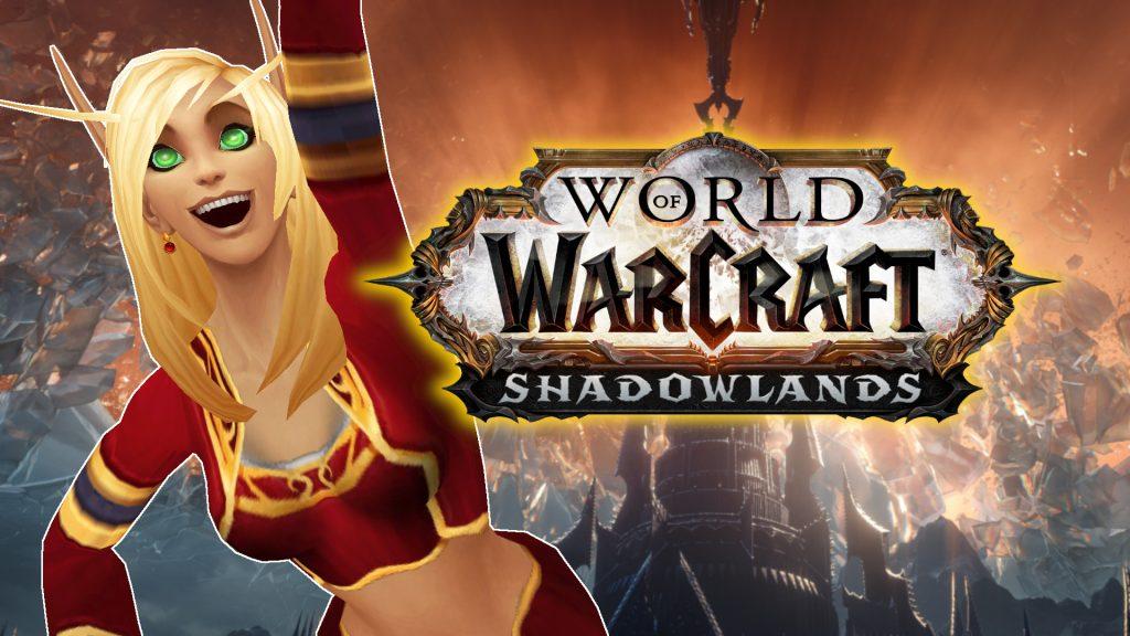 WoW Shadowlands Logo cheer blood elf female titel title 1920x1080