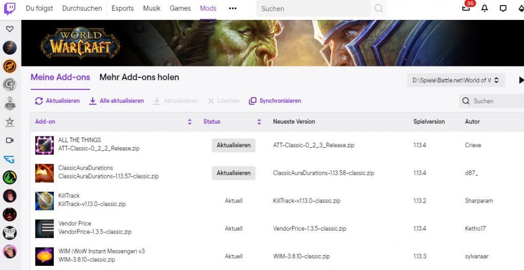 WoW Twitch App