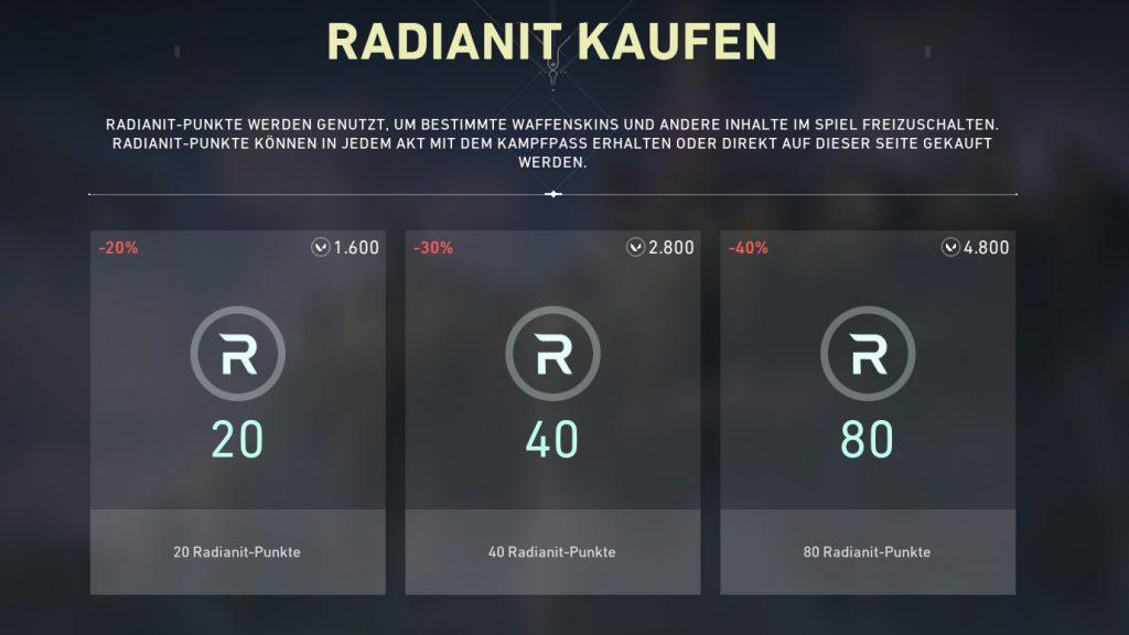 valorant währung radianit kaufen