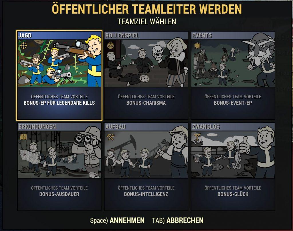 Fallout 76 Öffentliche Teams