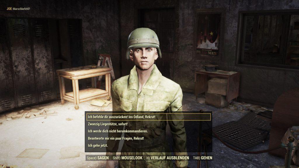 Fallout 76 Camp McClintock NPC Soldat