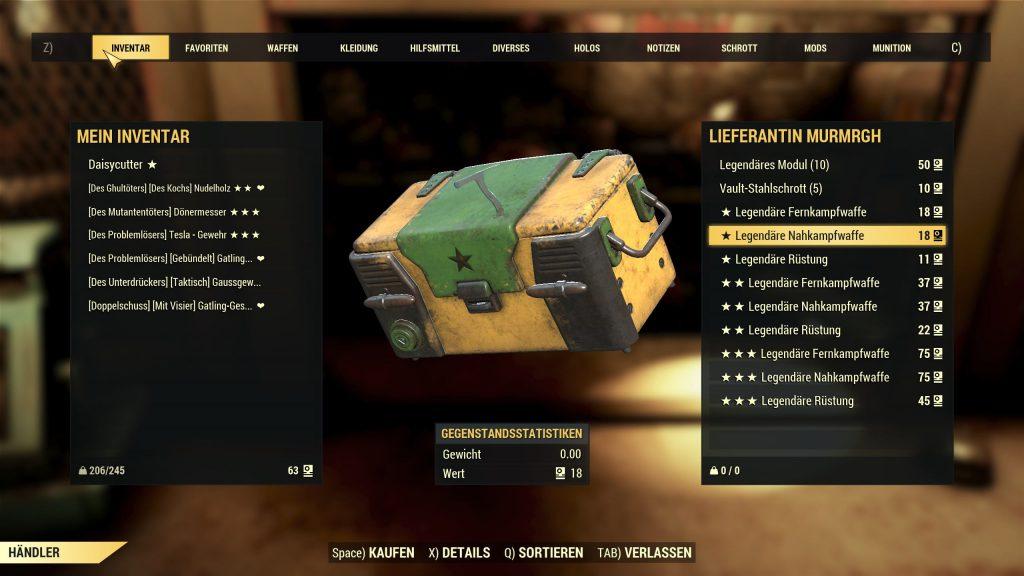 Fallout 76 Legendäre Händlerin Angebot