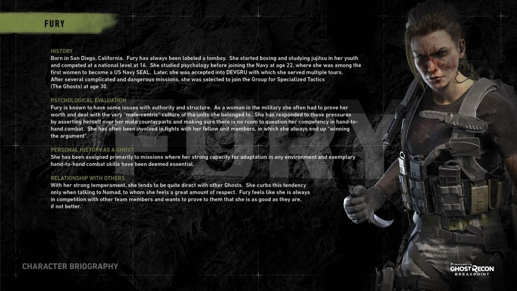 Ghost Recon Breakpoint Fury Bio