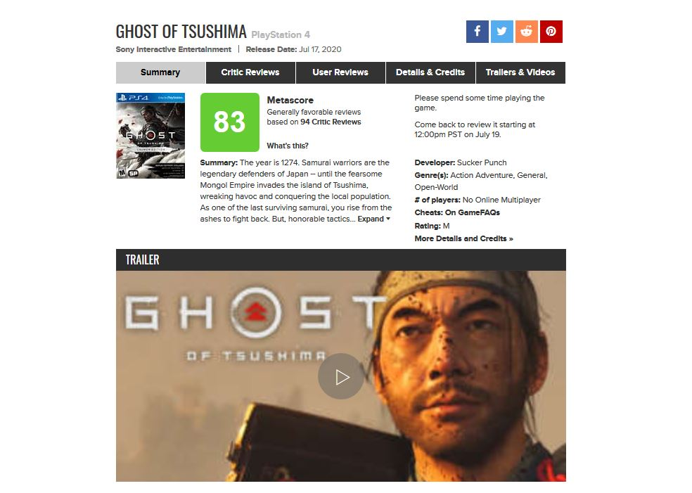 Ghost of Thushima Metacritic spend more time 2