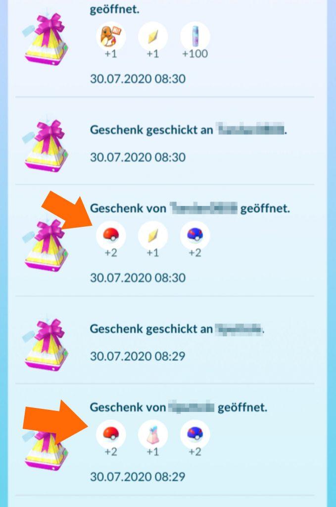 Pokémon GO Geschenke PokéBälle wenig