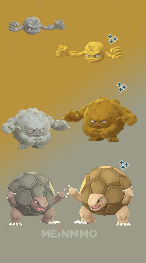 Pokémon GO Kleinstein Shiny Familie