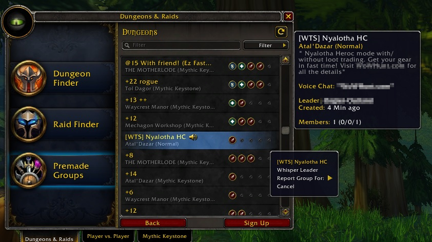 WoW Report Groups