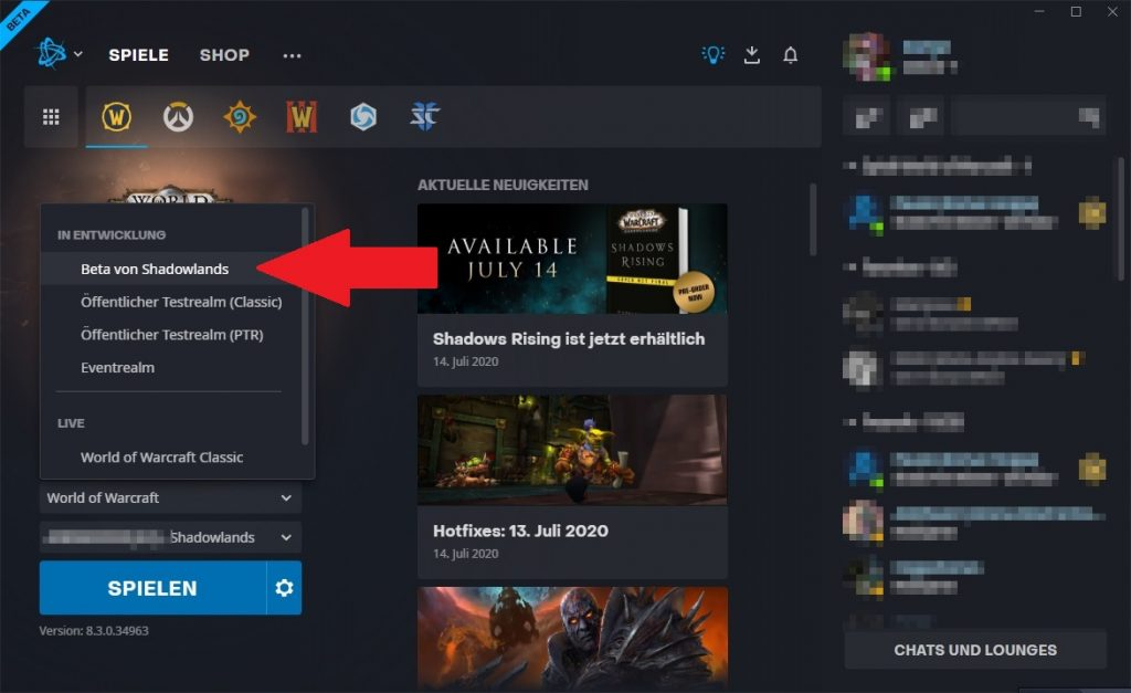 WoW Shadowlands Beta Screen
