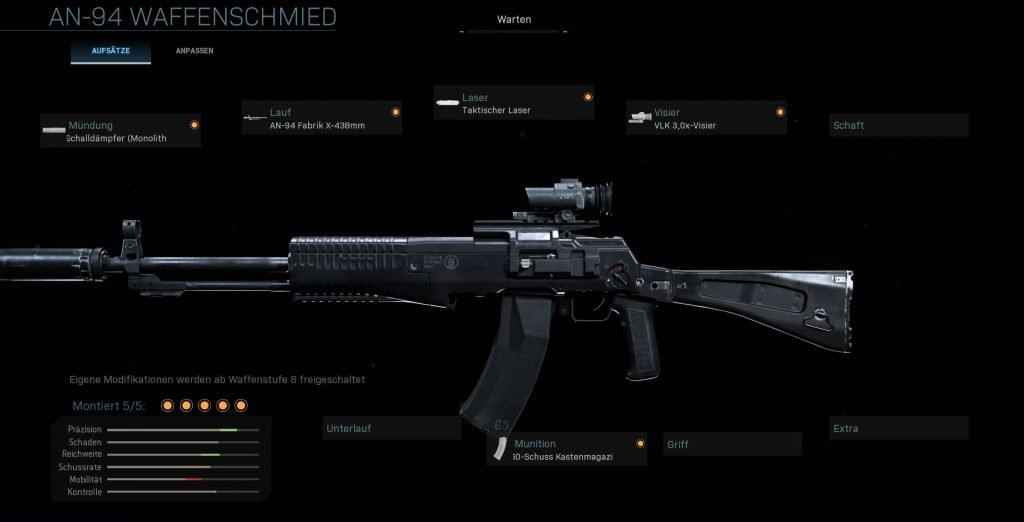 Call fo Duty Modern Warfare Warzone AN 94 Warzone Setup