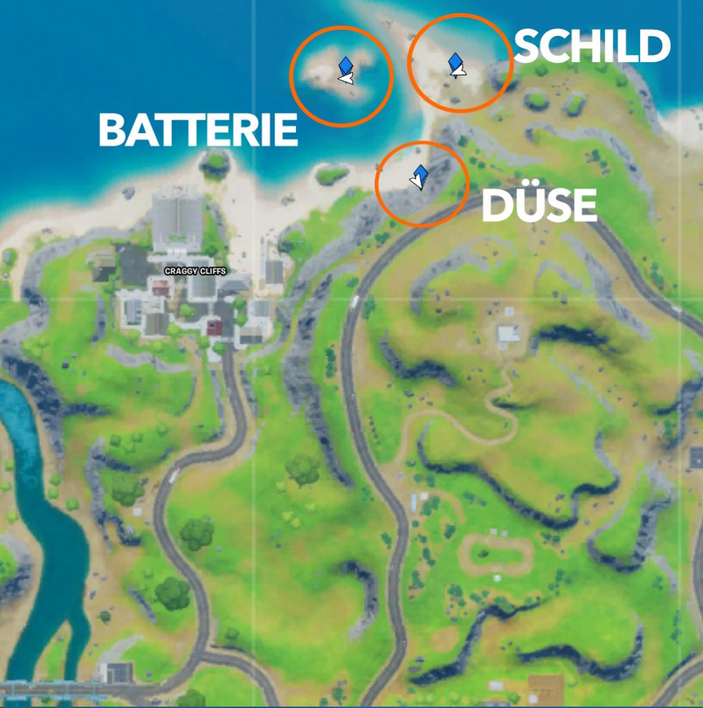 Fortnite Starte das Raumschiff Teile finden Karte