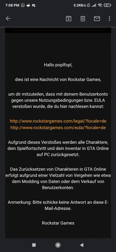 GTA Online Glitch Reset Nachricht Rockstar Games