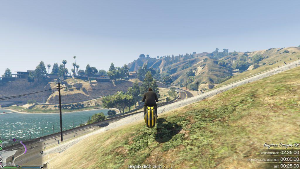 GTA Online Vinewood Hills Rennen Hügel landen