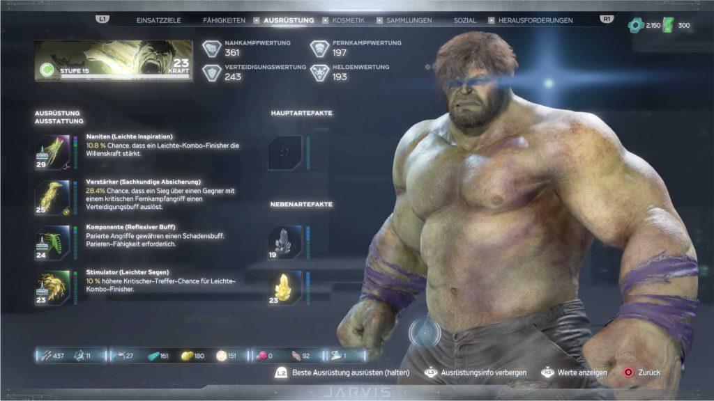 Marvels-Avengers-held-hulk-menü-ausrüstungs-bildschirm