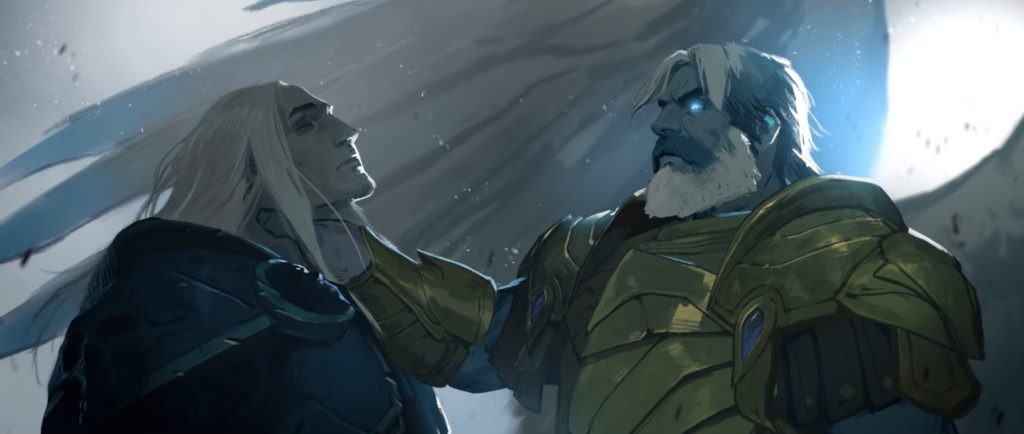WoW Bastion Uther holding Arthas