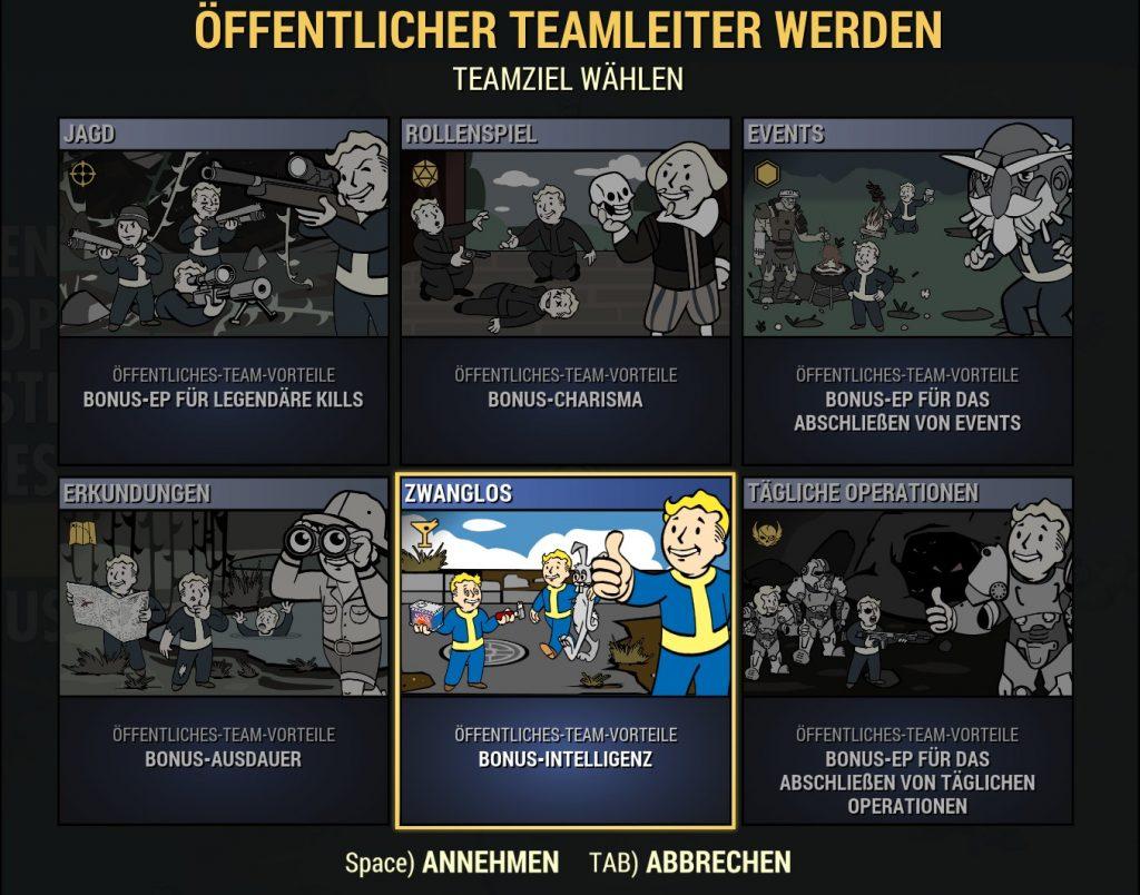 Fallout 76 Öffentliche Teams neu