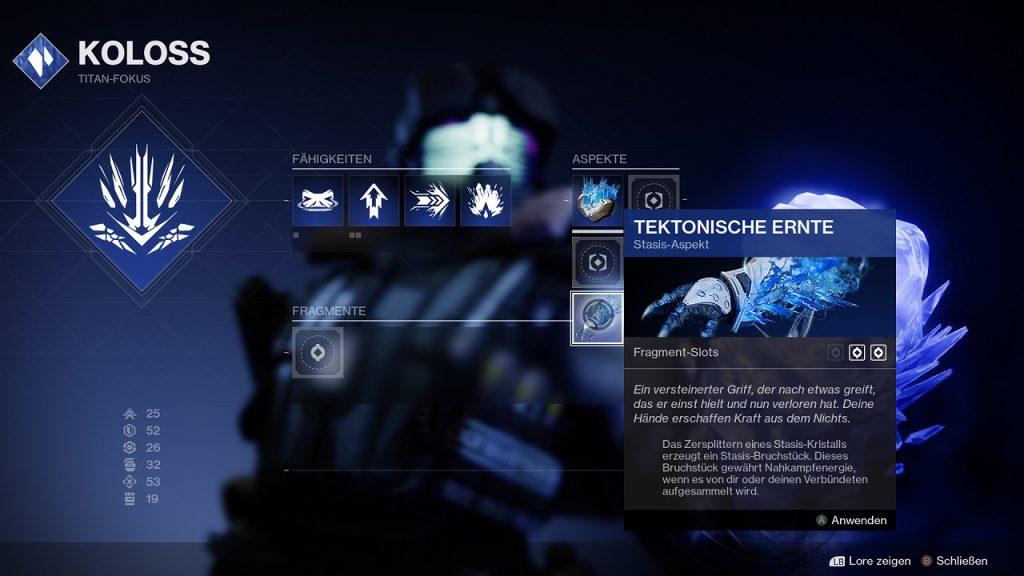 Fragmente Aspekte Titan Koloss Beyond Light Destiny Stasis