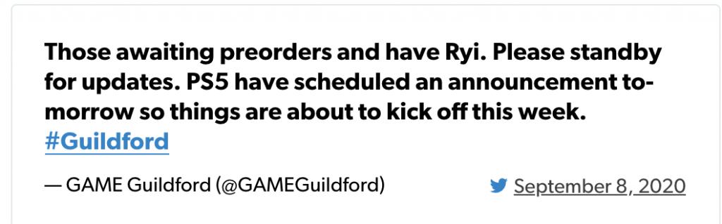 GAME Guildford Tweet PS5