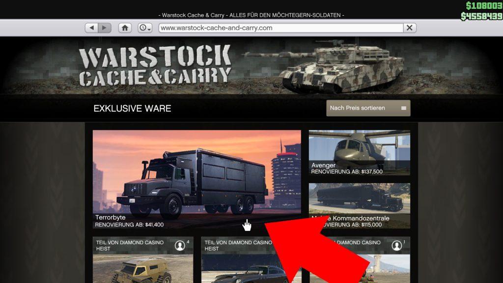GTA Online Terrorbyte Webseite kaufen