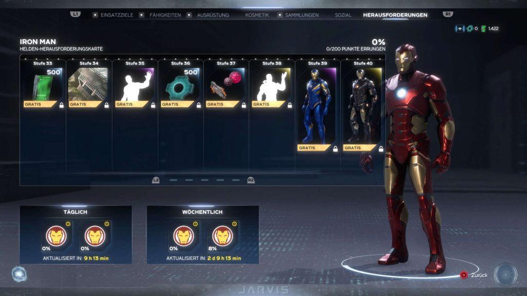 Marvel's Avengers helden iron man herausforderungs karte 33 - 40