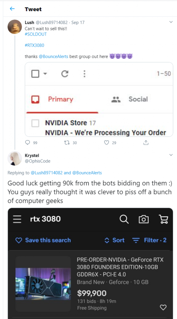 rtx 3080 scalper bot tweet