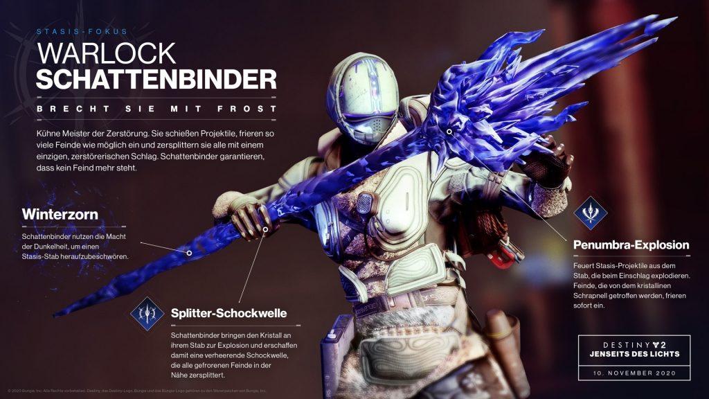 Warlock Stasis Schattenbinder Shade Info Destiny 2