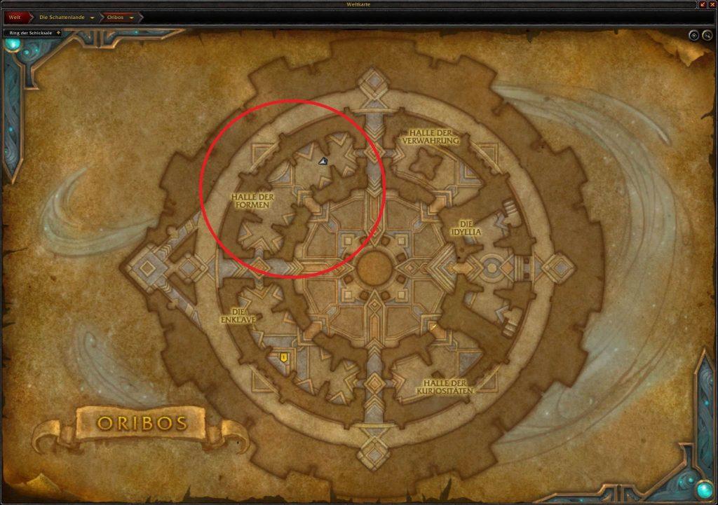 WoW Shadowlands Karte Oribos Berufe Lehrer