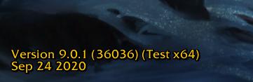 WoW Version PTR Test 90