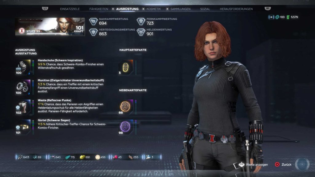 marvels avengers helden black widow ausrüstungs menü stufe 100