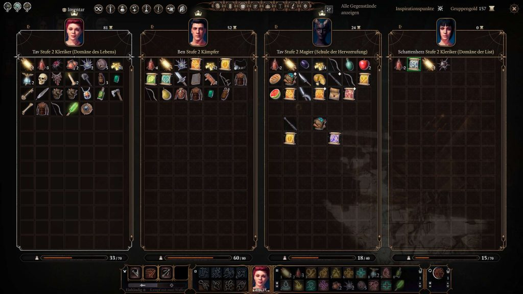 Baldurs Gate 3 Multiplayer Inventar