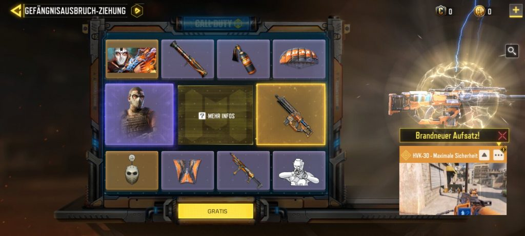 CoD Mobile Arsenal Ziehung Items
