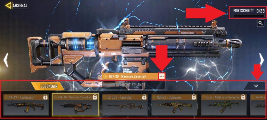 CoD Mobile Arsenal legendäre Waffe HVK