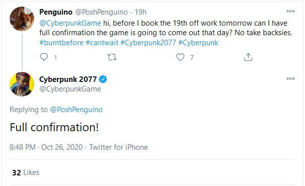 Tweet zu Release von Cyberpunk 2077