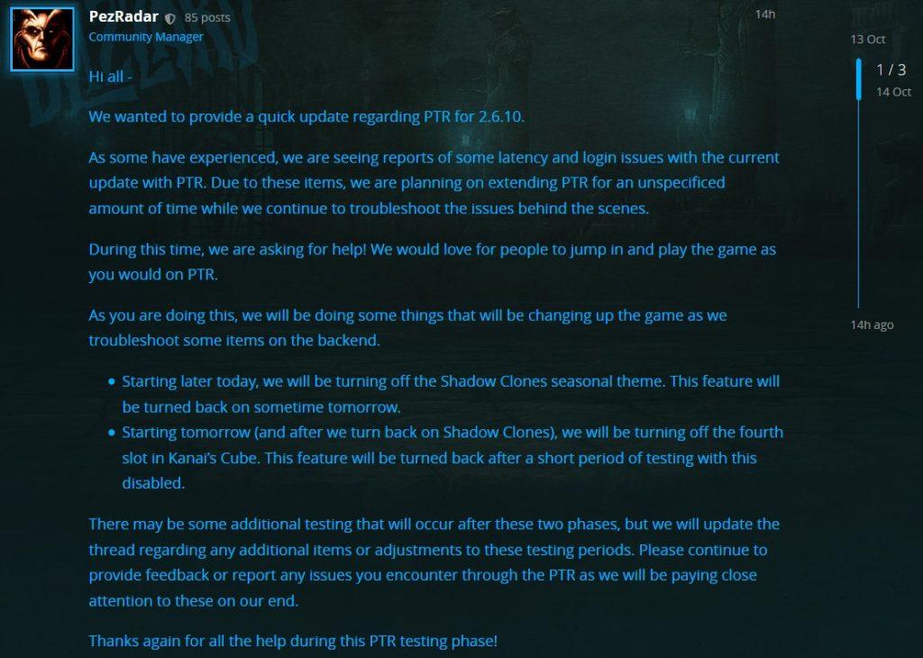 Diablo 3 Pez Radar Testen verlängert