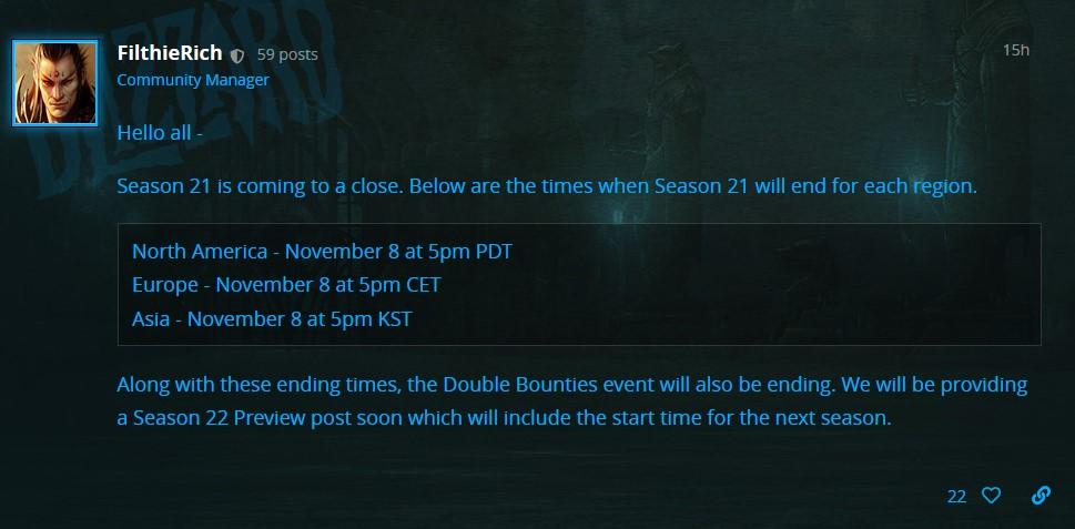 Diablo 3 Season 21 Blue Post
