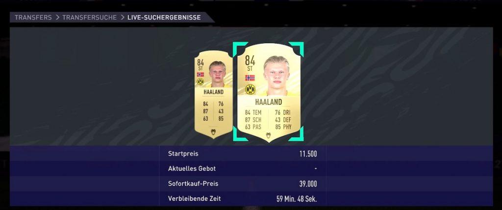 FIFA 21 Haaland preis niedrig