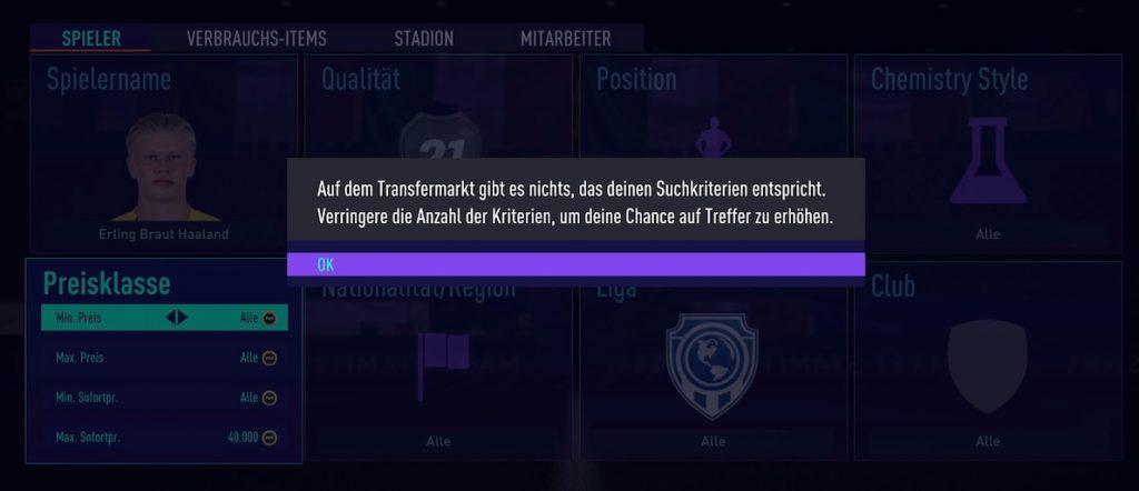 FIFA 21 Fehlermeldung