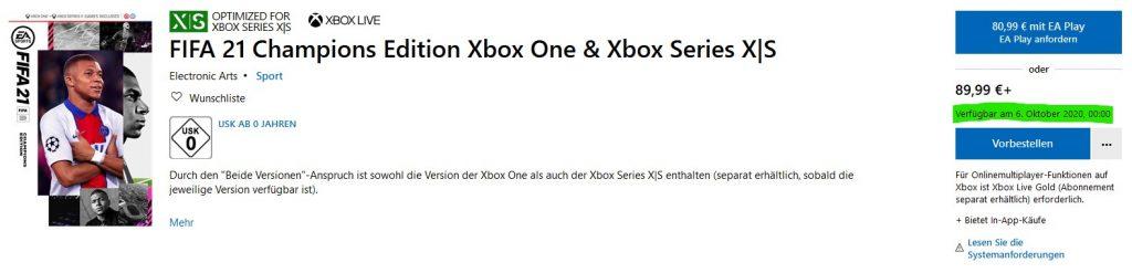 FIFA 21 Release Ultimate Champions Edition Uhrzeit