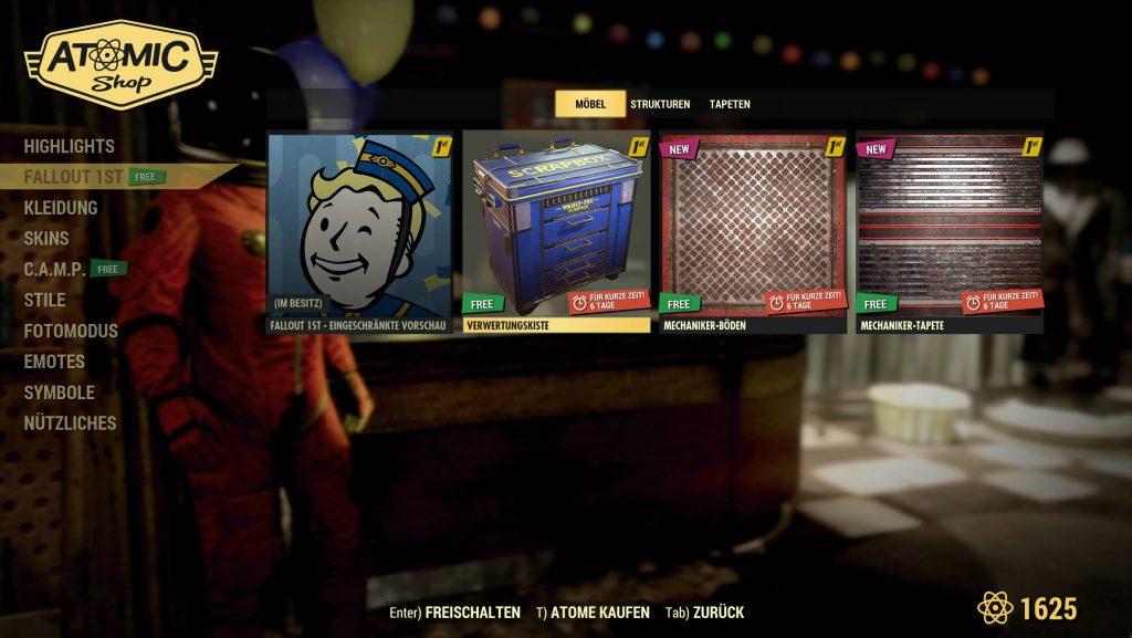 Fallout 76 Fallout 1st Shop