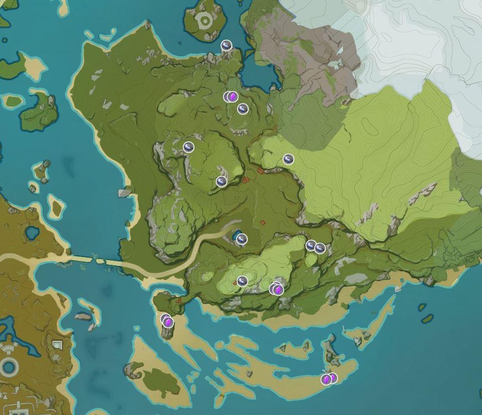 Nachtjade Elektrokristalle Map Genshin Impact